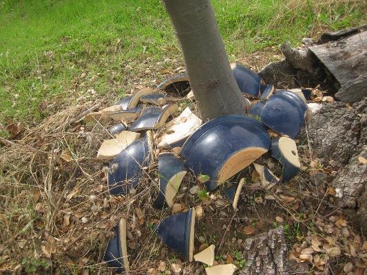 Broken blue pots, an archeological dig?