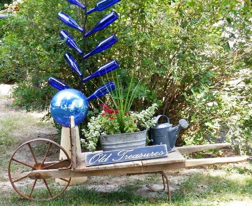 Blue bottles for the garden and beer bread flea market gardening for World market beer garden table
