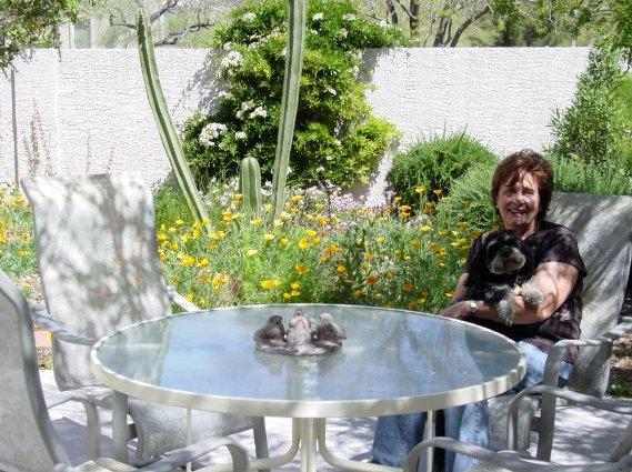 Monika Clauberg in her patio garden