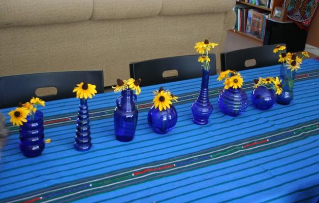 Cobalt centerpieces ready for the Garden Club to admire