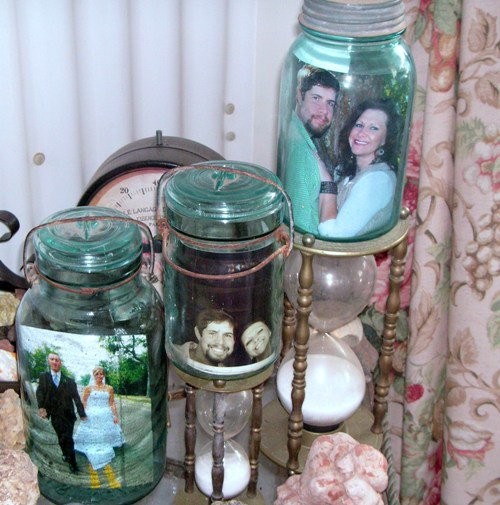 Becky Norris' Mason jar 'picture frames'