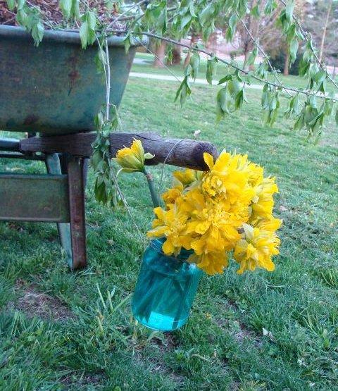 A cheery welcome lightens your heart when entering this garden