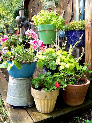 Julie Brown's colorful grouping of painted pots