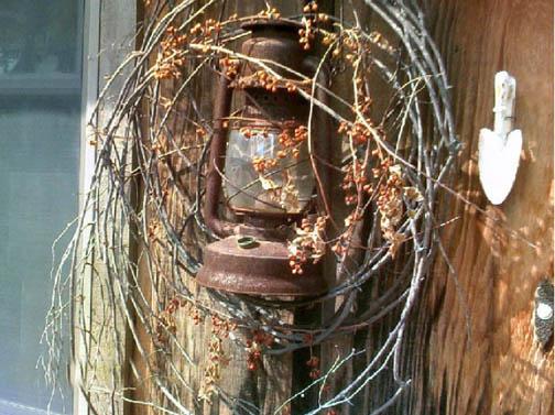 Bittersweet wreath with lantern