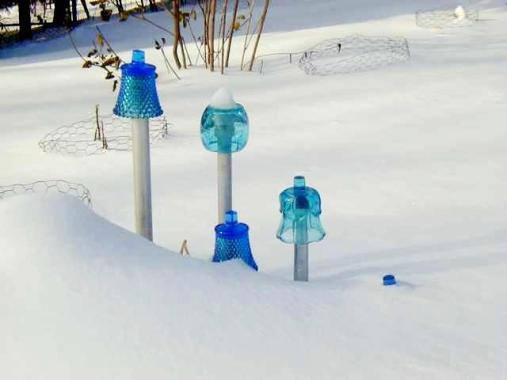 "Lark Leibundgut Kulikowski, "" Here are some of my forever bell flowers in my Wisconsin Winter snow."""