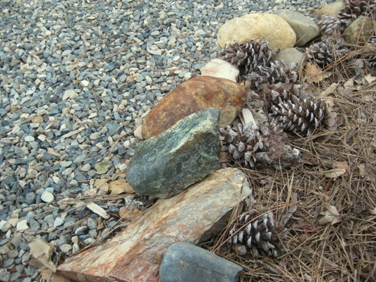 Rock and gravel make a neat edging