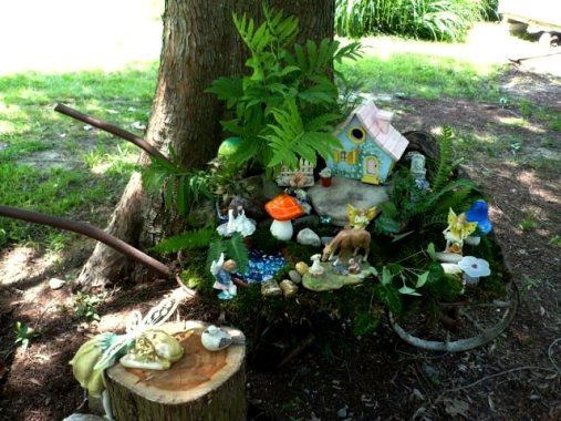 Gnome Garden Ideas fairy garden for sarah and emma like the moss on the cottage Marlene Kindreds Wheelbarrow Fairy Garden