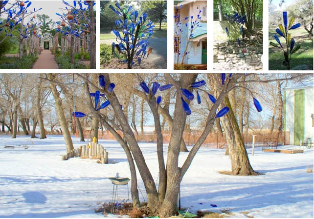 More blue bottle trees from a Google search top row; directly above, Sue Gerdes' blue bottle tree growing in South Dakota, where it reflects the blues of sky and snow.