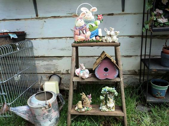 "Cheryl Harrison says, "" My ladder, got the idea from you at Flea Market Gardening!"""