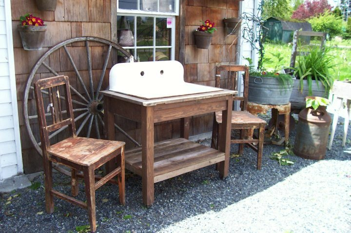 Prairie sink and farm table at Shed Antiques