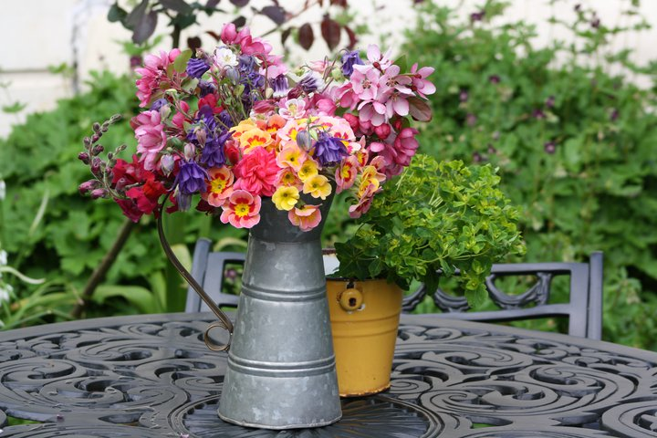 Theresa Doss's French pitcher on a terrace table