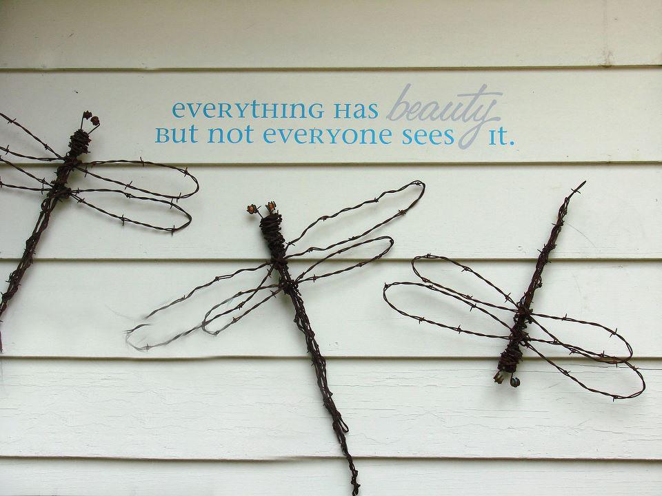 Jeanne Sammons found these Barbed wire dragonflies on a garden walk