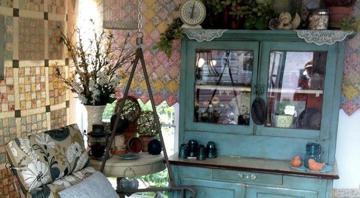 Grandma's hutch and an old tete a tete .