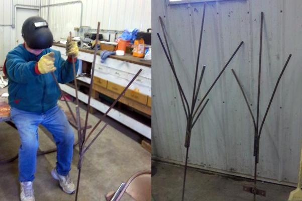 Ron Meyer, Nancy hubs, making bottle trees.