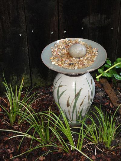 Diana L. Duggan, elegant;y simple treatment of her cracked bird bath