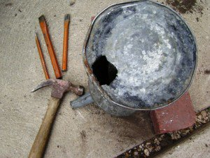 Hammer n chisel makes the drainage hole