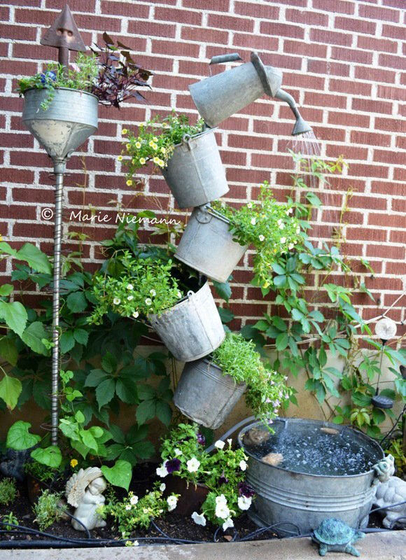 Marie's finished galvanized tipsy fountain