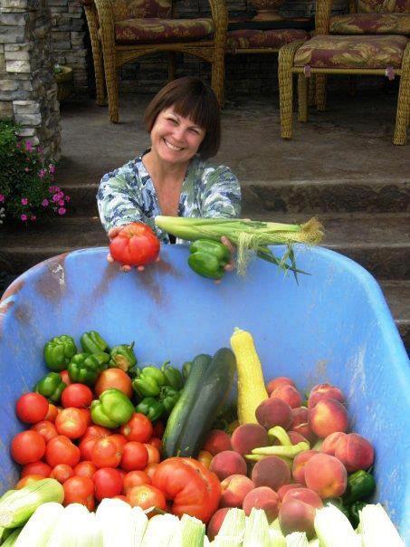 Brenda Black's wheelbarrow of goodies