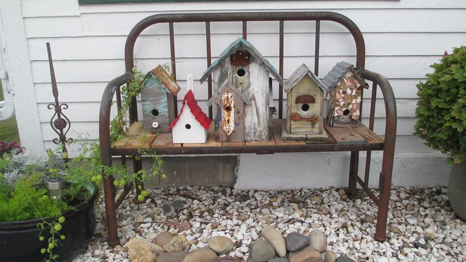 Sue Gerdes' old bedframe bench outside her door.