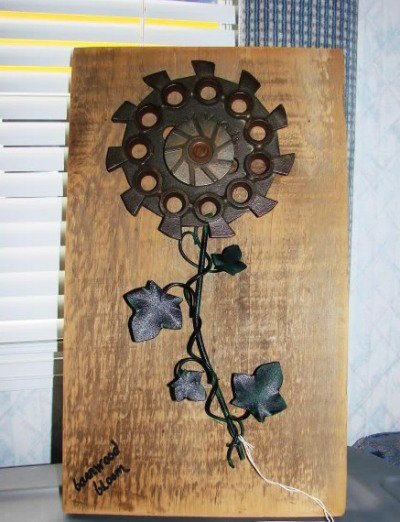 Barnwood bloom I made with the corn seed plate