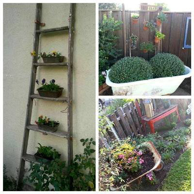 Old planted ladder, claw foot tub and wheelbarrow in our very flea market style garden.