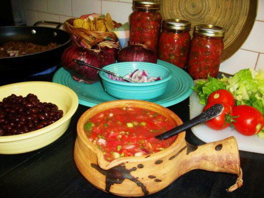 Taco salad with Lisa's homemade salsa for dinner