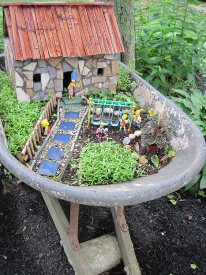 Dick makes his own fairy houses