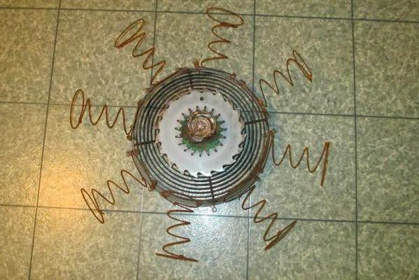 Fan and saw blades and gear and fan cover and springs