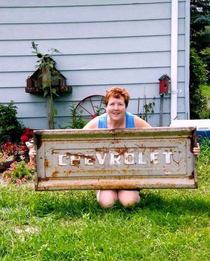 """I found this old rusty tailgate on ebay!"" Barb says..."