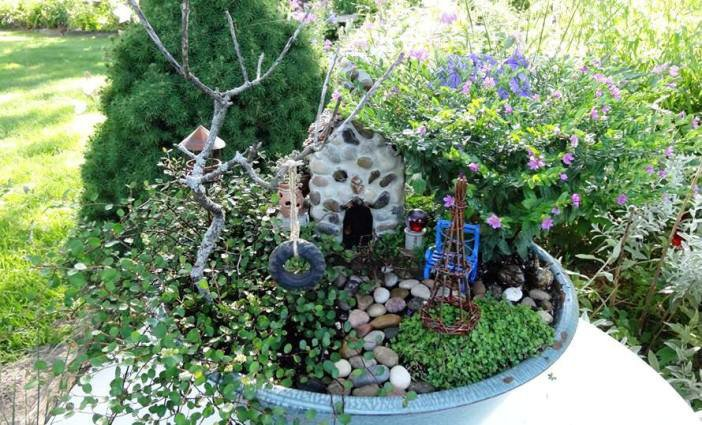 Ideas For Fairy Gardens 18 diy fairy garden ideas Jeans Blue Pan Miniature Garden Complete With Exquisite Detail