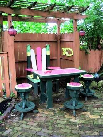 Watermelon themed seating area