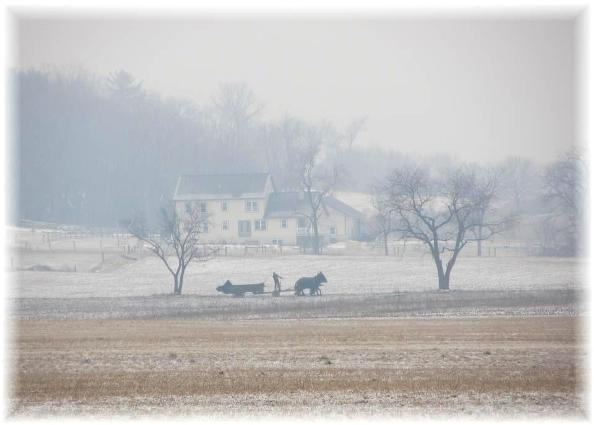 George Weaver's neighbor plows a foggy field