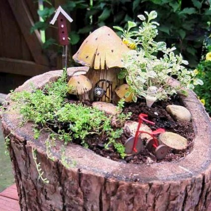 Jeanies Woodsy Fairy Garden Flea Market Gardening