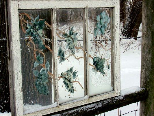Jeanne's painterly winter window frames the snow