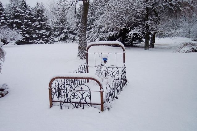 Jeannie Rhodes's snowy garden bed. Were there really flowers here?