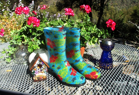 Mosaic birdhouse and Slogger boots