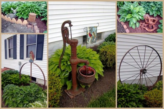 """A collage from photos taken earlier this spring, I garden w/ Hostas & Rust. Most of my rust has a family farm story related to it."""