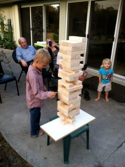 Tanya Goldsmith's son made this cool Jenga game