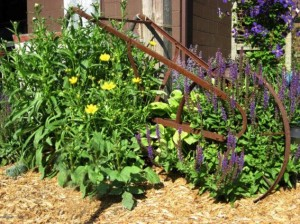 The chicken coop's old plow in a flower bed.
