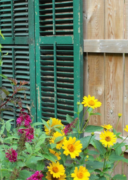 Heather Benton's garden junk shutters