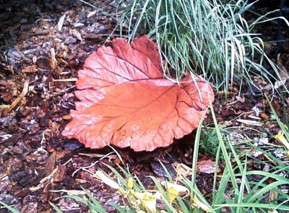 Carrie Cervantes's rusty colored leaf casting from hypertufa