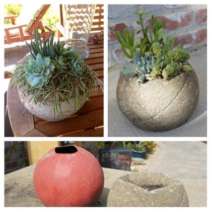 Karen Zakaria's spherical hypertufa planter