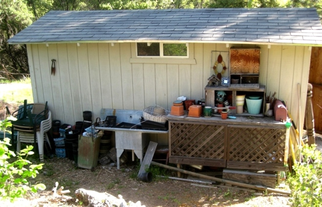 My Potting bench area,...what a MESS!