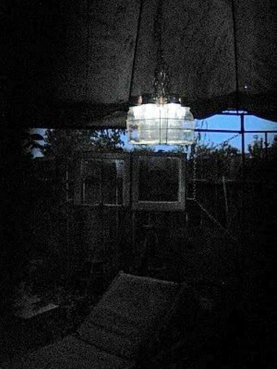 Debbie Newton's chandelier at night