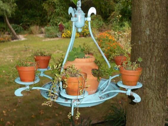 Mary Everett's teal blue chandelier
