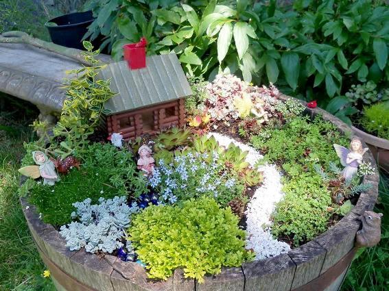 How to create a fairy garden in a container flea market for Fairy garden ideas pictures