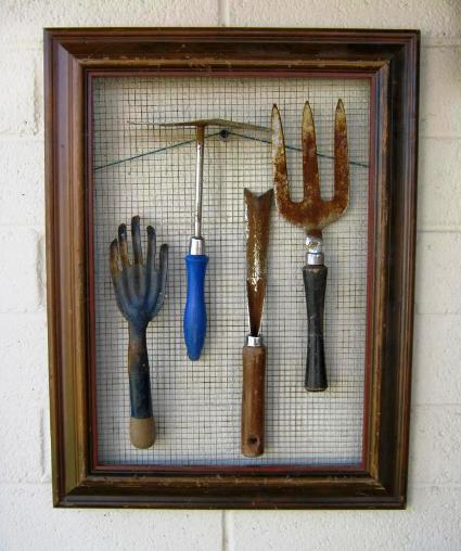 Brian Stephan's framed garden tool set