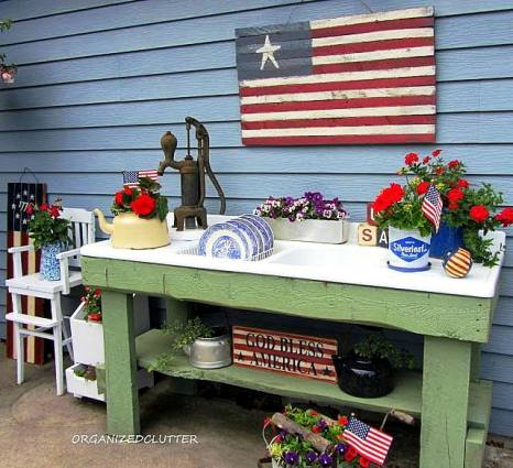 Carlene's garden sink is decorated for 4th of July