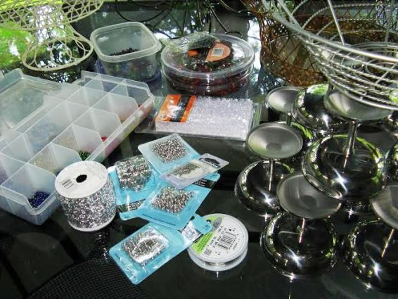 Beads, jump rings, glue and string are the other supplies needed
