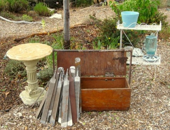 The day's lucky junk shop finds, including the wooden farrier's toolbox and files